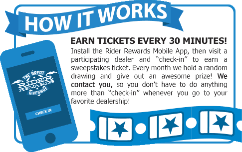 How It Works: Earn a sweepstakes ticket every 30 minutes, with the Rider Rewards app.
