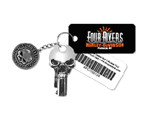Rewards cards on a keychain.